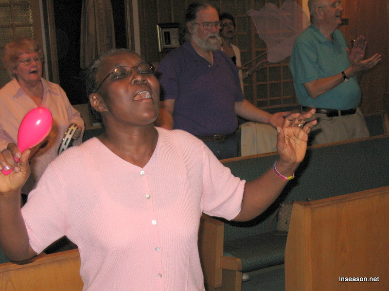 Congregation worshipping the Lord at the Espousal Center in Waltham, MA
